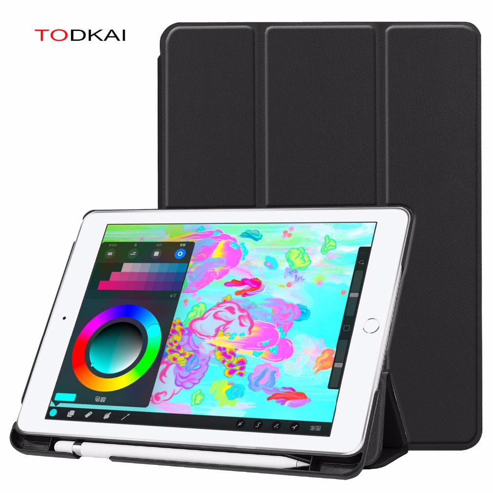 For IPad 9.7 2018 2017 A1893 A1954 Stand PU Leather Smart Cover Case  For Apple Ipad 9.7 2018 Air 2 Air Case With Pencil Holder