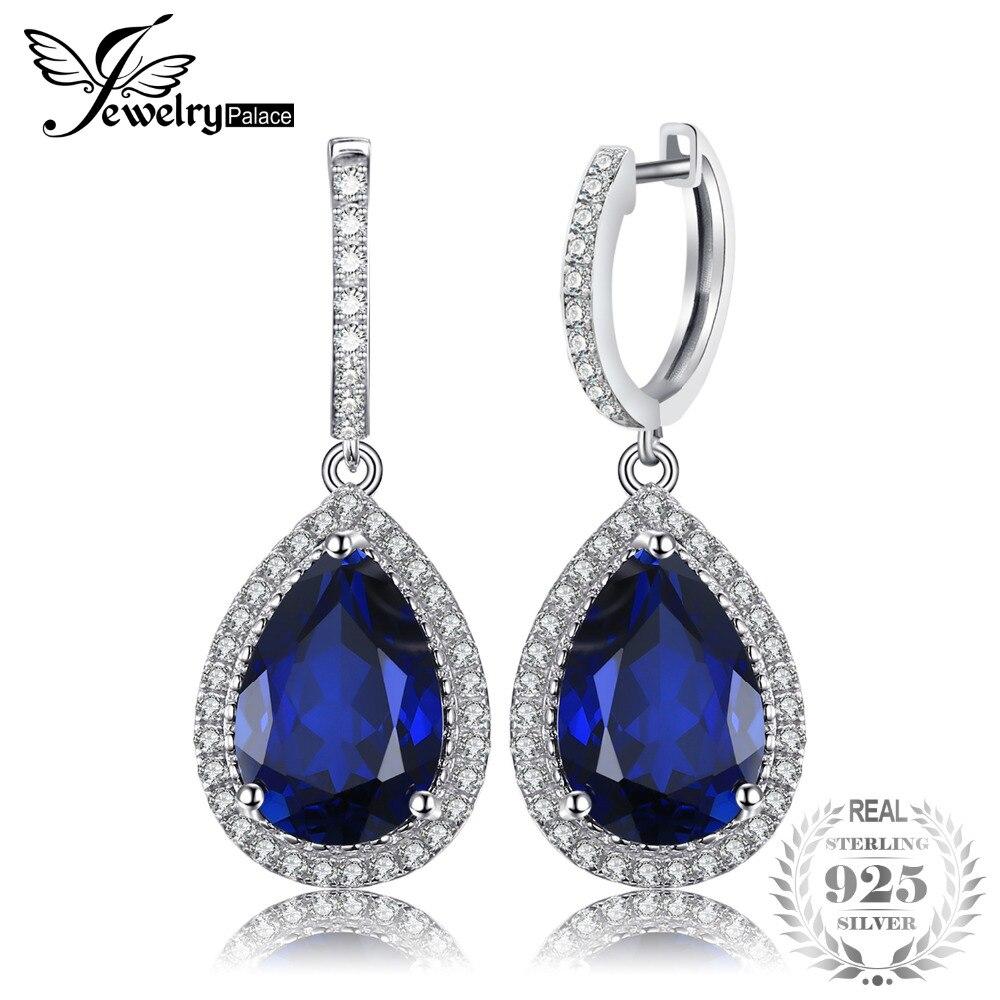 Jewelrypalace De Luxe Poire Cut 12.4ct Bleu Créé Saphir Balancent Boucles D'oreilles Solide 925 En Argent Fin Bijoux pour Femmes