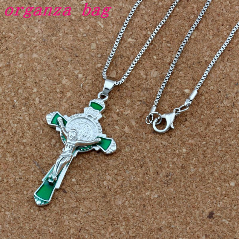10pcs Green Enamel Saint Benedict Medal Crucifix Cross Religion Charms Pendant Necklaces Jewelry Diy 23.6 Inches Chains A-360d