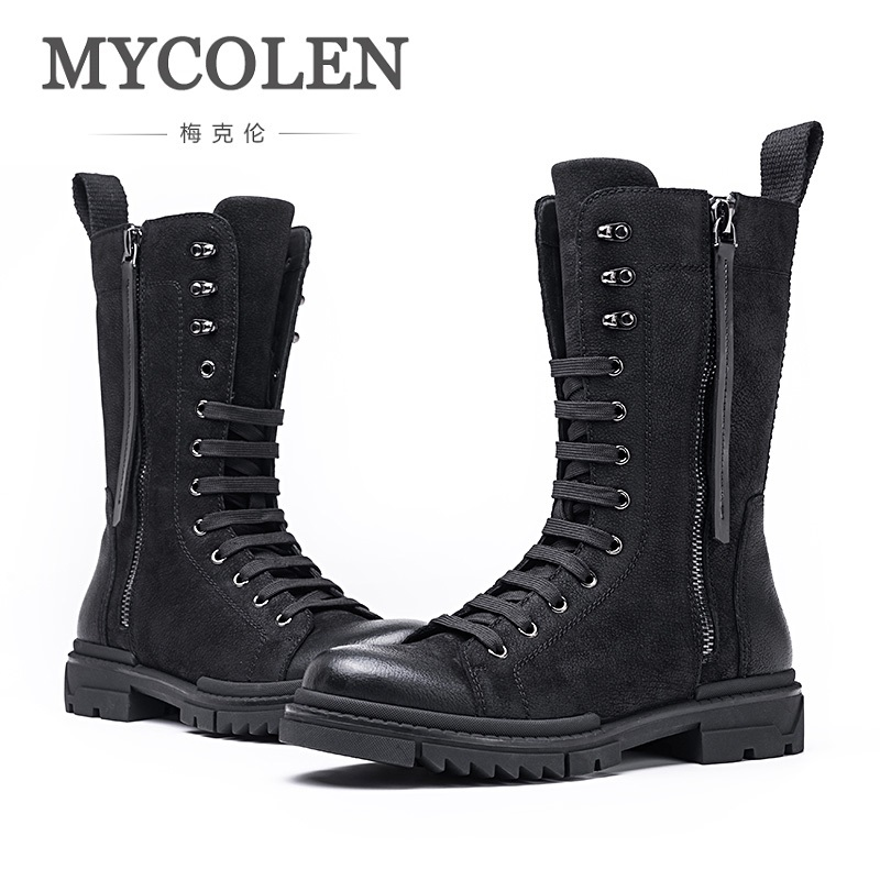 MYCOLEN Hot Sale Designer Men Winter Military Boots Male Snow Ankle Boots Warm Waterproof Tactical Shoes Mens Leather Boots serene handmade winter warm socks boots fashion british style leather retro tooling ankle men shoes size38 44 snow male footwear