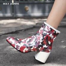 Купить с кэшбэком Rubber Camouflage Shoes Women Rain Boots For Girls Ladies Walking Waterproof Women Boots Winter Woman Ankle Martins Rainboots