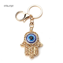 2017 Fashion Evil Eye Key chain Gold Color Crystal Fatima Palm  Key chain Hollow Out Hamsa Hand Key Ring  for Women Men Jewelry