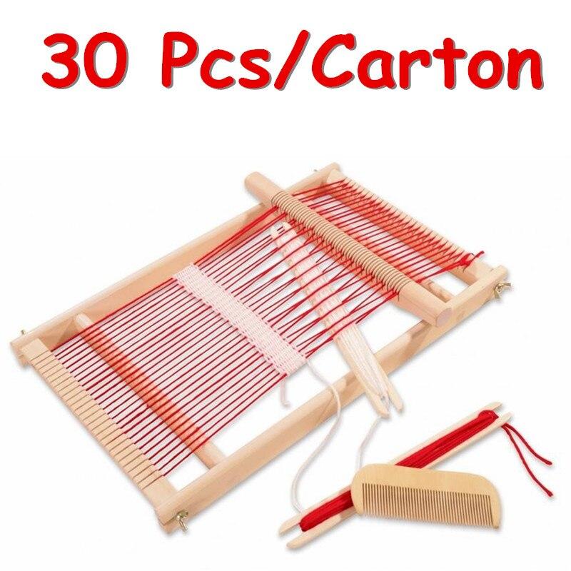 Fcl wholesale 30 pz/carton tessitura telaio in legno tradizionale toys bambini finta play mestiere tessitura frams regalo educativo
