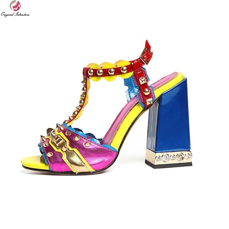 Intention originale femmes sandales peau de mouton bout ouvert talons carrés sandales bleu Rose Rose chaussures femme grande taille américaine 3-10.5