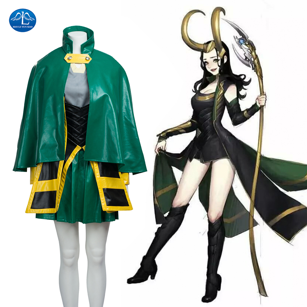 MANLUYUNXIAO Marvel The Avengers Thor Female Loki Cosplay Costume Loki Leather Dress Jacket Cloak Halloween Costumes For Women