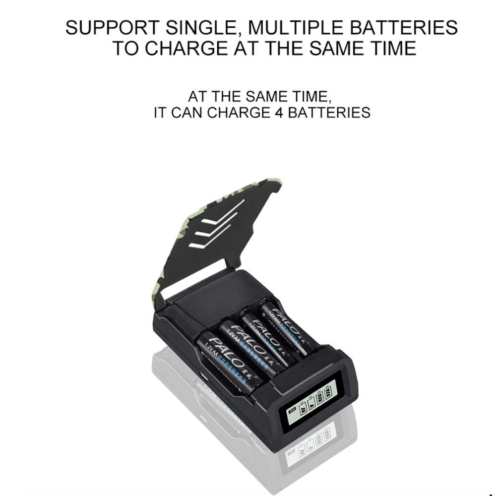 PALO 4 слота ЖК-дисплей Умный интеллектуальный AA зарядное устройство для AA/AAA 1,2 в Ni-CD Ni-MH аккумуляторы