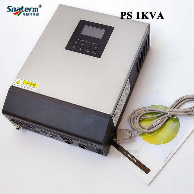 Promotion!!PS1KVA Pure Sine Wave Hybrid Solar Inverter 12VDC Input 230VAC Output with AC charger+50A PWM Solar Charge Controller