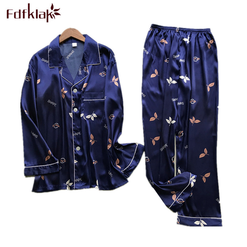 New Brand Men Pajama Set Long Sleeve Silk Men's Pajamas Print Casual Home Clothes Male Sleepwear Pyjama Suit Pijama Hombre