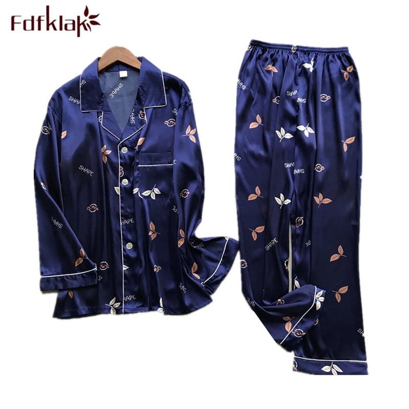 New Brand Men Pajama Set Long Sleeve Silk Men's Pajamas Print Casual Home Clothes Male Sleepwear Pyjama Suit Pijama Hombre