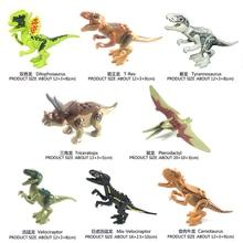 цена на 8pcs Jurassic Dinosaur Set Building Block Toy Figure Indoraptor Velociraptor Triceratop  World Dino Brick Compatible with