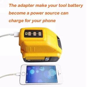 Image 4 - USB Converter Charger For DEWALT 14.4V 18V 20V Li ion Battery Converter DCB090 USB Device Charging Adapter Power Supply