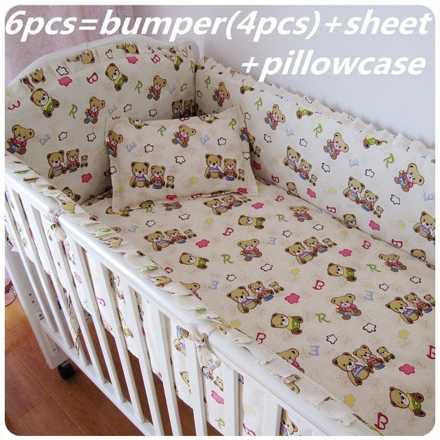 Promotion! 6/7PCS Bear baby bedding set curtain crib bumper baby cot sets baby bed , 120*60/120*70cm