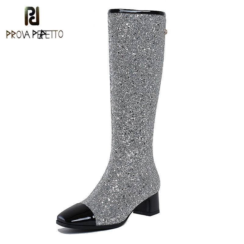Prova Perfetto 2018 Super Bling Bling Women Boots Fashion Paillette Knee High Boots Genuine Leather Low Heel Boots Ladies Shoes prova perfetto bling bling crystal floraal sandals women hollow out high heel slipper comfort muffin platform pink girl shoes