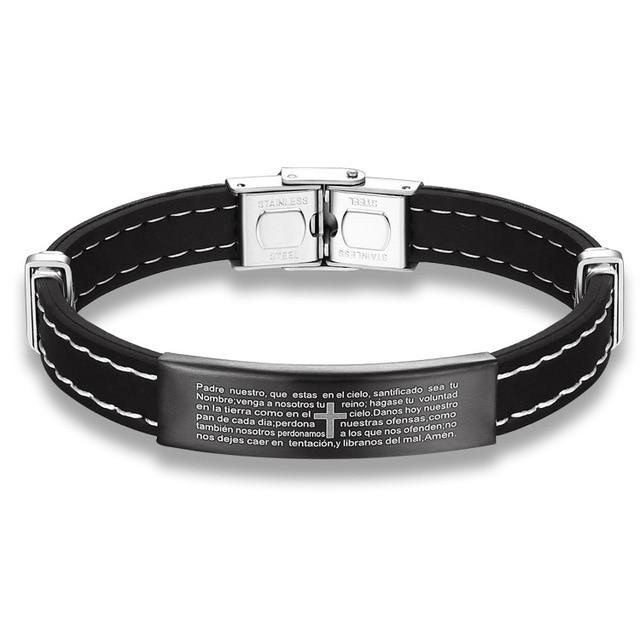 Cross Bible Leather Bracelets for Men Black Stainless Steel Male Casual  Bangle Bracelet Christian Jewelry 13ef7ffa00fa