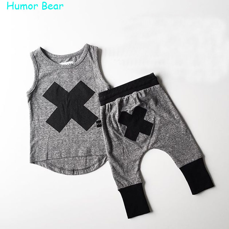 Humor Bear 2016 baby Boys girls clothes Casual Clothing Sets Children's Suit sleeveless Blouse+Haroun pants Summer kids set