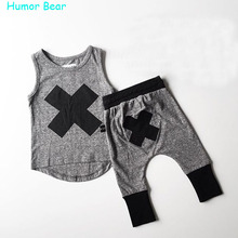 Humor Bear 2016 baby Boys girls clothes Casual Clothing Sets Children s Suit sleeveless Blouse Haroun