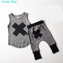 Юмор Медведь 2016 детские Мальчики девочки Повседневная одежда Устанавливает детский Костюм без рукавов Блуза + Haroun брюки Летние дети набор