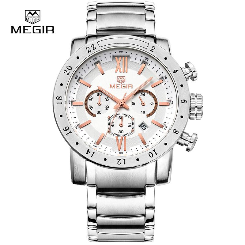Prix pour Megir mode quartz montre pour homme imperméable à l'eau lumineux montre-bracelet mens grand cadran montres 3008 livraison gratuite