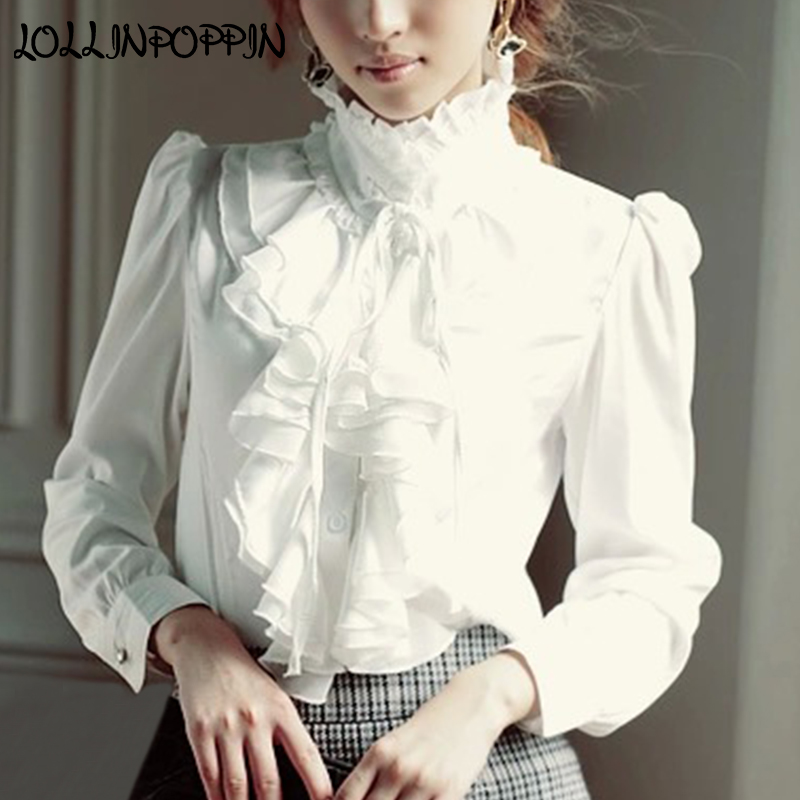 Women Lolita Shirt Long Sleeve Stand Collar Chiffon Blouses With Ruffles New 2019 Ladies Bow Shirt Royal Style Gothic Shirt