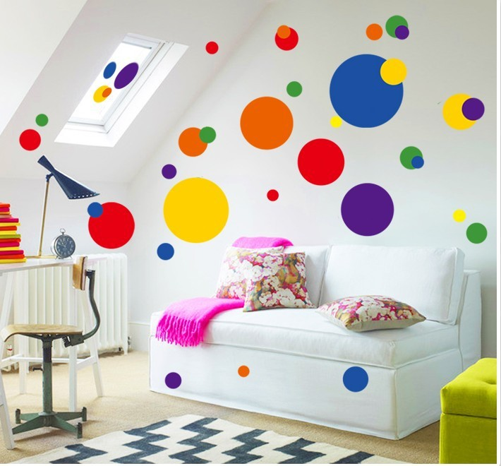 Colorful circle wall sticker bathroom kitchen 7158 decorative removable pvc wall  decals home decor(China