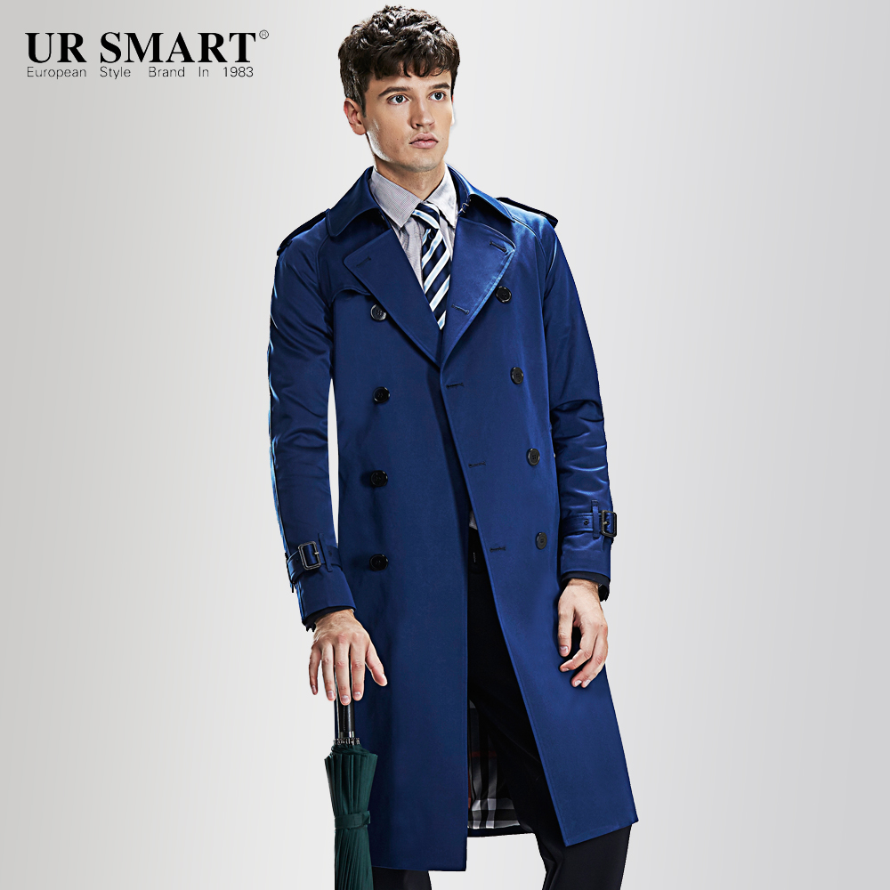 Star of tomorrow URSMART super long weather-proof double-breasted men's windbreaker style British male trench coat