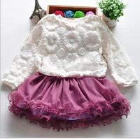 2016 Summer Baby Girl Clothes Sets Lace Baby Set Cake Dress Baby Kids Set Vestido Mesh