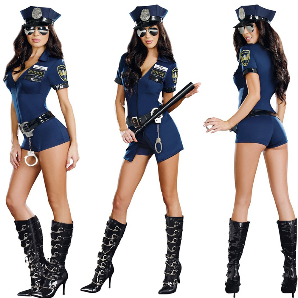 2014 New Stylish Female Cop Police Officer Uniform Adult Halloween Cosplay Costume Sexy Deep V Neck Blue Jumpsuit Party Wear plus size women in leather