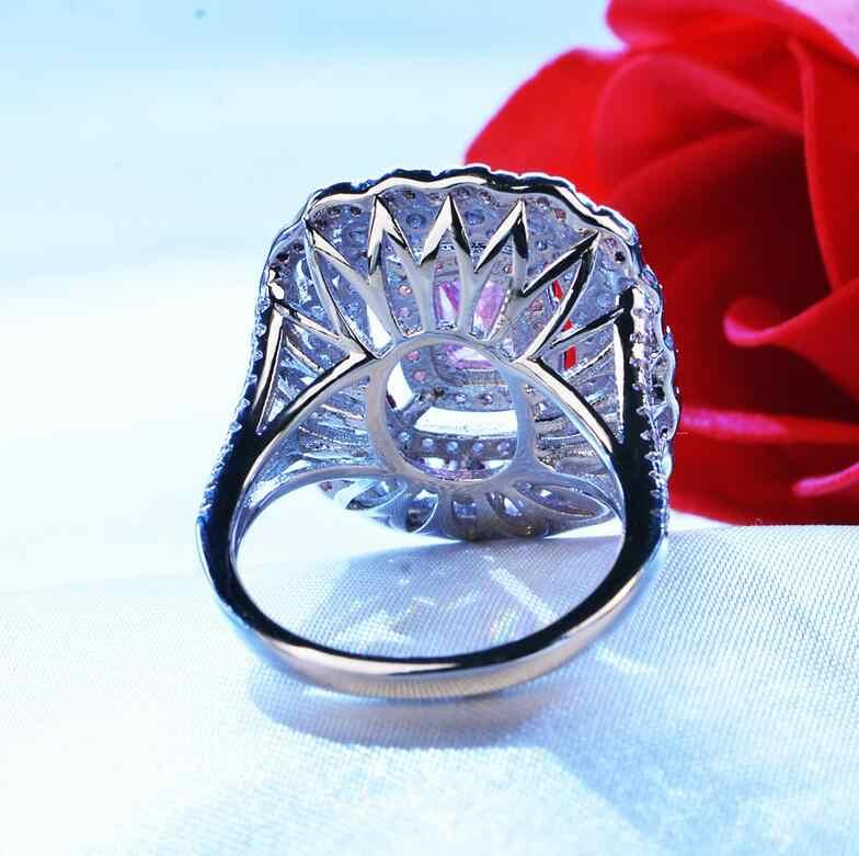 Nova Chegada Jóias de Luxo de Ouro Branco 18KT Encheu Almofada Forma 125 PCS Rosa & Branco 5A CZ Zirconia Mulheres Casamento coroa Anel de Presente