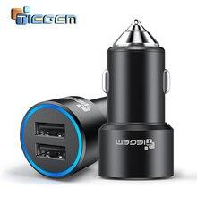شاحن سيارة Tiegem مزود بمنفذ USB مزدوج 3.1A معدني للهاتف المحمول وشاحن سيارة مزود بمنفذ USB لشحن السيارات ومنفذين لمحول هواتف سامسونج وآيفون