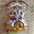 2016 verano nueva 2 unids ropa set para niños Vintage flores del chaleco + pantalones los niños amarillos de ropa traje 2 - 7 T vetement fille