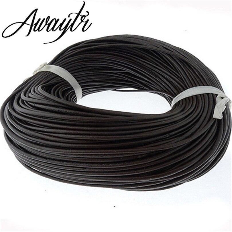 AWAYTR 10M 2.5mm Black/Coffee Genuine Round Real Leather Jewelry Cord Diy PU Necklace Bracelet Jewelry Making Supplies