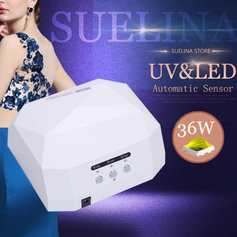 Suelina Sun 36W Diamond Nail Dryer Upgraded LEDUV Lamp For Nail Art Dryer Gel Nail Polish Drying Manicure Hotsale 13days ONLY !! aftermarket free shipping motorcycle parts frame slider for yamaha 2004 2005 2006 2007 2008 2009 2010 2011 2012 fz6 fz6s 600 cn