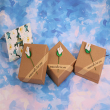 High Quality 5 Pack/Lot 8.5x8.5x3.5 cm Kraft Paper Craft Jewelry Set Boxes Necklace Pendant Earring Gift Box Cases
