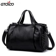 51e245d151 2018 spring new leather handbags Europe wind rivets leather pillow bag  shoulder portable Messenger bag(