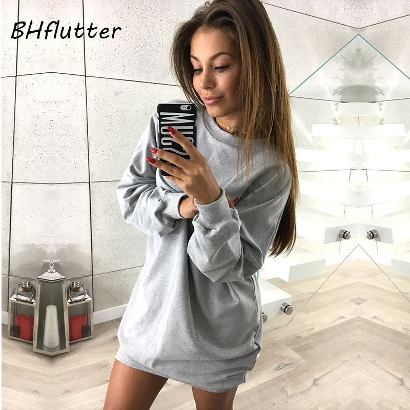 BHflutter New 2017 Autumn Winter Dress Women Long Sleeve Casual Loose Short Dress Long Sweatshirt Brief Oversized Sweater Dress