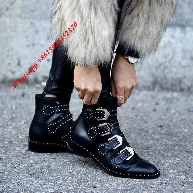 71cc9d892862 Street Fashion Silver Studded Buckles Chunky Heels Black Soft Leather Women  Shoes Pointed Toe Ankle Boots Low Heel Punk Boots