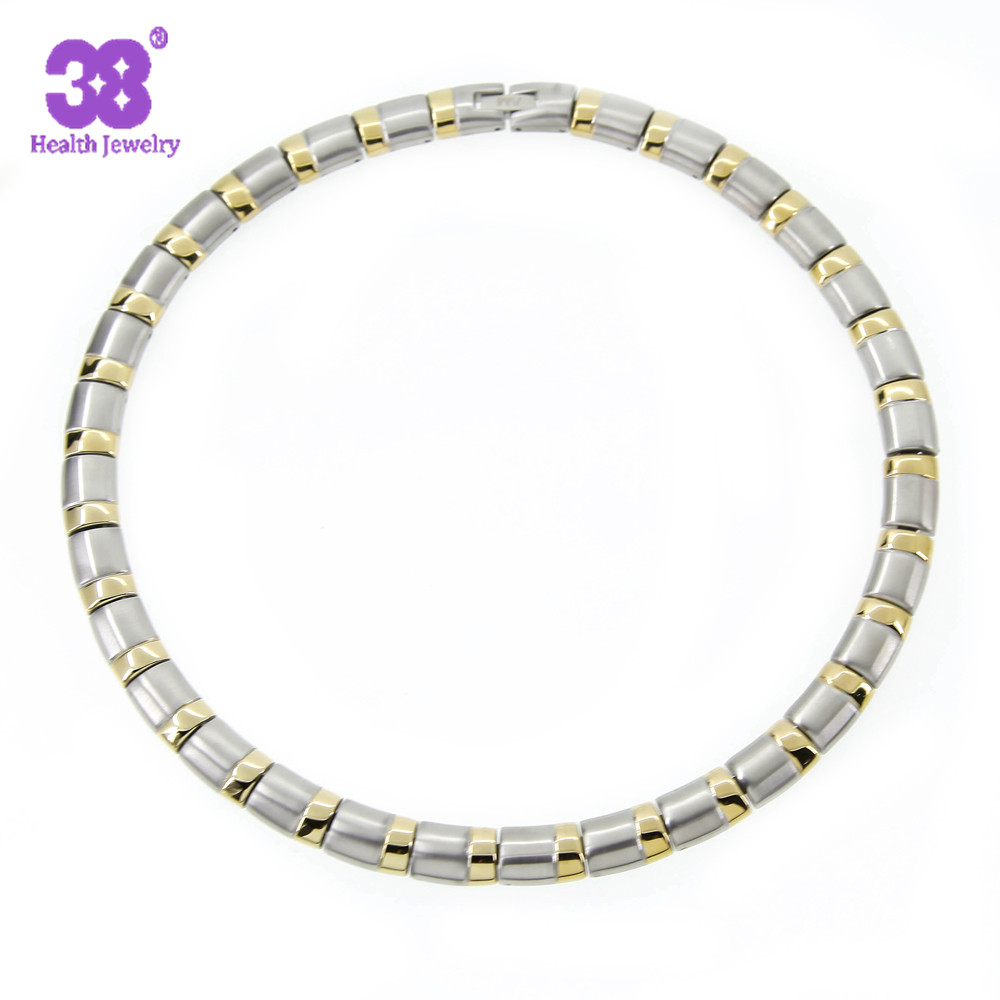 все цены на 38 New Fashion 316L Stainless Steel 5 Element Health Care Mens Jewelry Gold-Silver Color Chain Link Necklace For Women онлайн