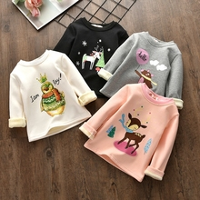 New autumn and winter plus velvet thickening of the girl's clothes sweater small girl baby warm jacket long-sleeved shirt 24M-6T