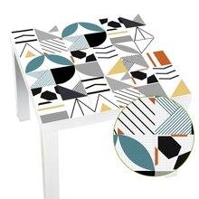 Bleu chaud imperméable à leau géométrique tuile manque dessus de Table mur Art meubles amovible auto adhésif PVC papier peint autocollant mural