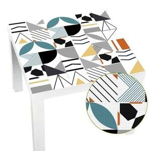 Image 1 - ホットブルー防水幾何タイル不足テーブルトップス壁アート家具自己粘着pvc壁紙ウォールステッカー