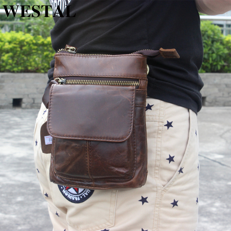 WESTAL Waist Bag For Men Men's Bag Genuine Leather Male Fanny Pack Leather Belt Bag Men Phone Bags Belt Small Waist/Hip Bags 886
