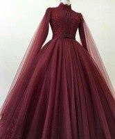 Бордовый бальное Вечернее платье для выпускного бала