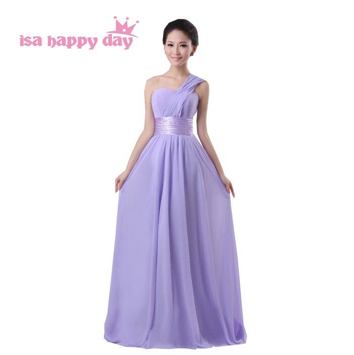 Mode dames adolescents bal partie une épaule jolie occasion spéciale élégante robe lilas femmes robes formelles 2019 H689