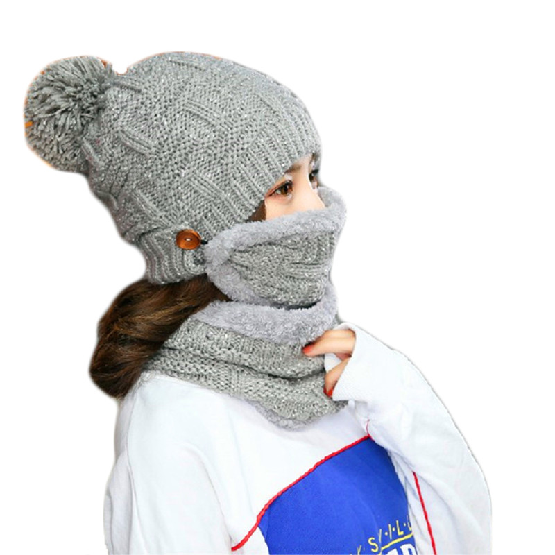 a31d647b072 Woman Knitted Beanie Hat and Scarf Set Warm Plus Velvet Thick Scarf Masks  Suit Pom Pom