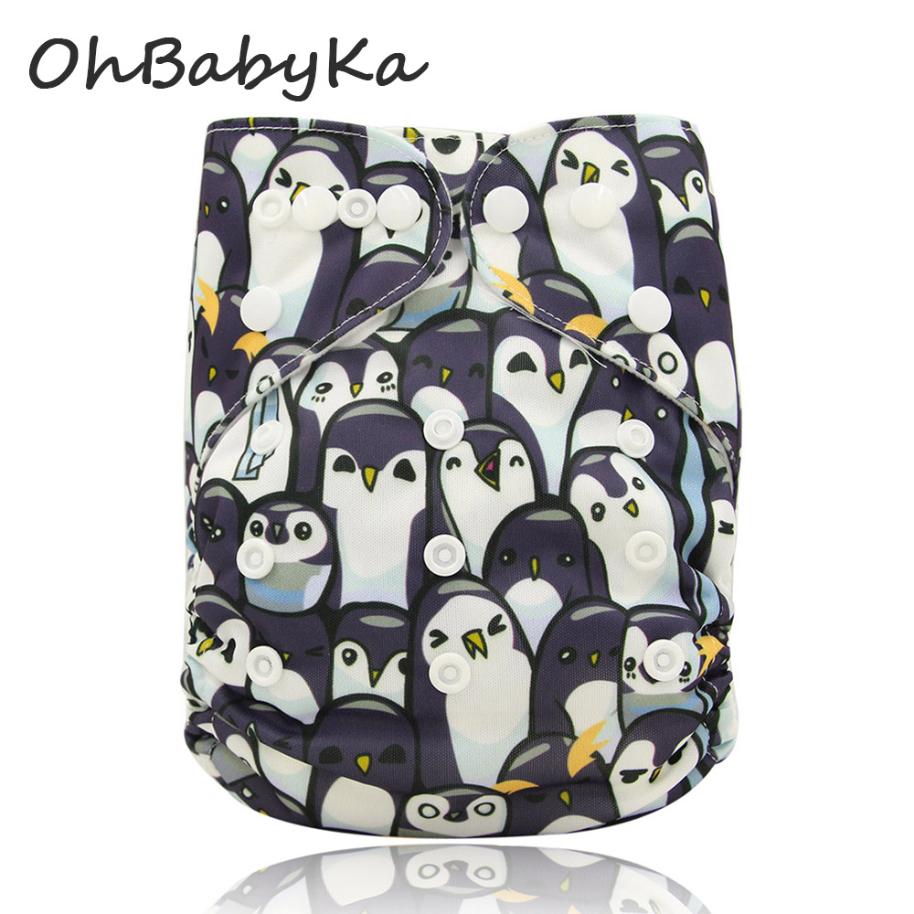 Ohbabyka Baby Diapers Digital Print Pocket Cloth Diapers Baby Care Unisex Reusable Nappies One Size Fit All Diapers 14Colors