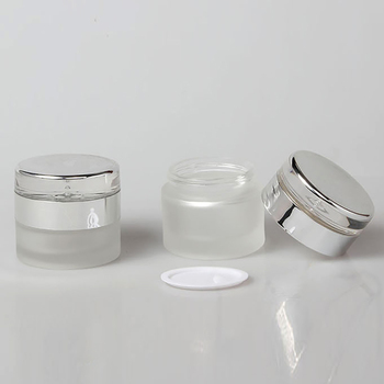 Clear frosted eye cream packaging 30g cream jar with silver screw cap empty cosmetic packaging