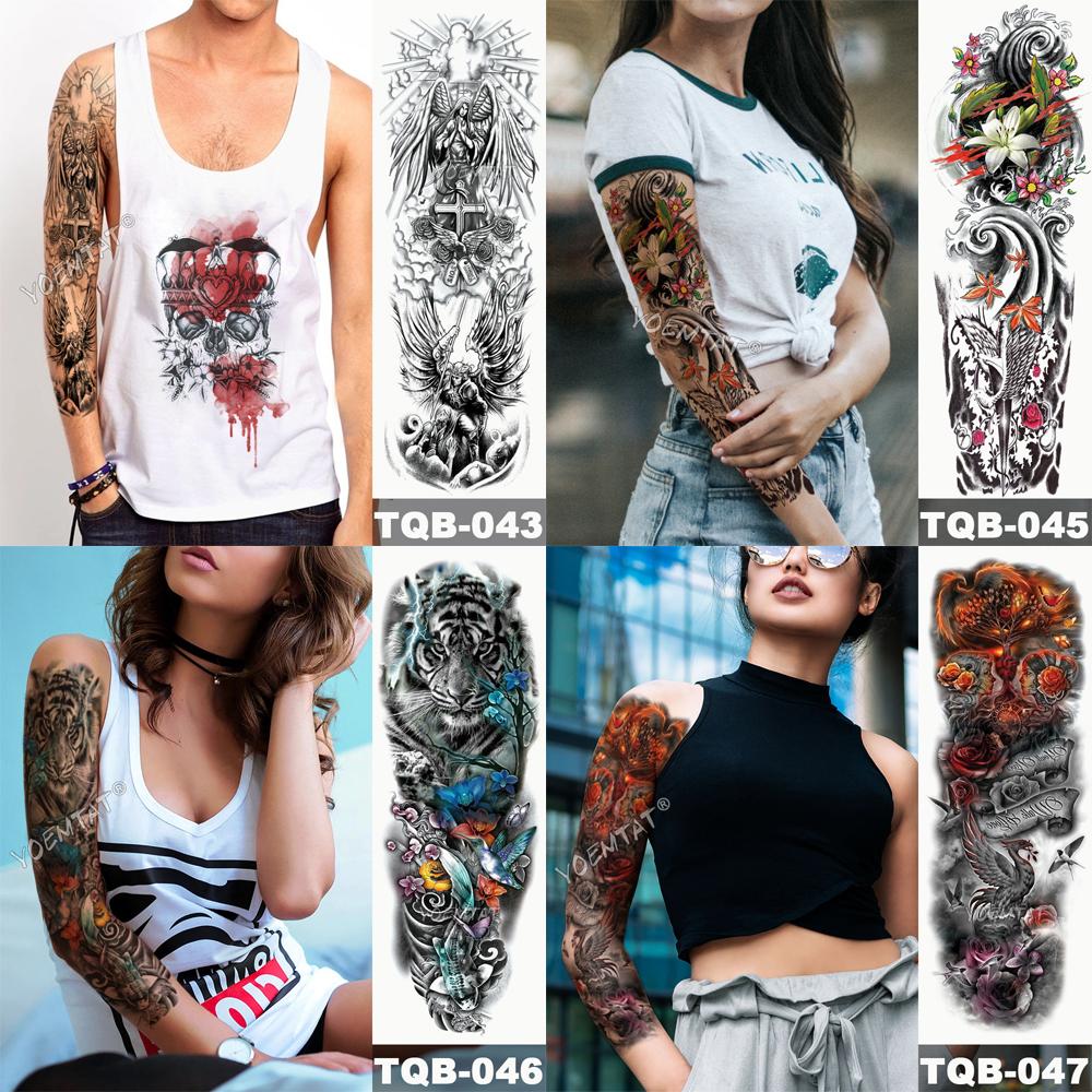 Tatuaje temporal para brazo con calaveras 1