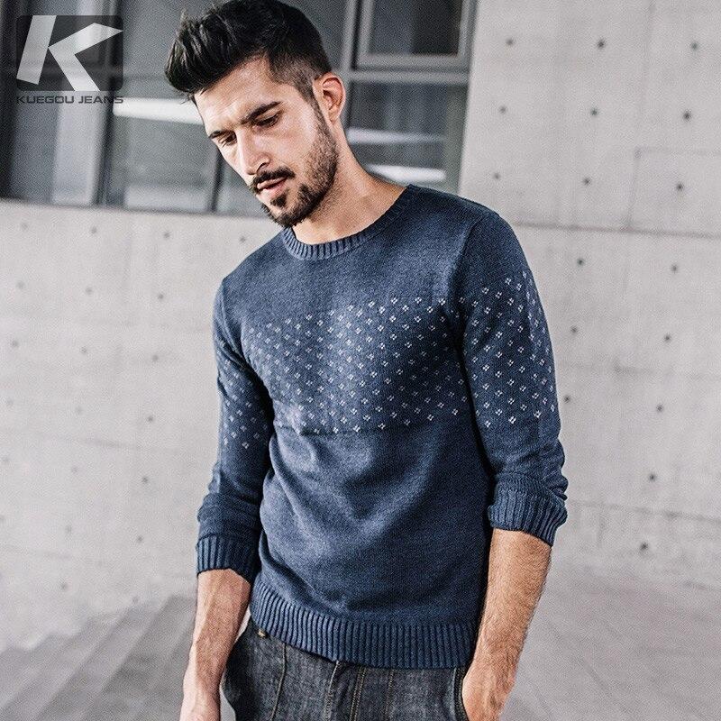 Designer Pullover font b men b font Kuegou 2017 font b Men s b font Long