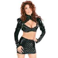 Sexy Costumes Steampunk Rivets Vinyl Leather Turtleneck Open Bra Lingerie Set NightClub Pole Dance Body Suit Exotic Dancewear