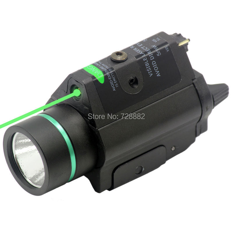 Tactical LED Flashlight Torch Green Laser Dot Sight Combo 200LM 532nm For Hunting Pistol Guns tactical hunting compact green dot laser sight scope with led flashlight combo fit for 20mm rail